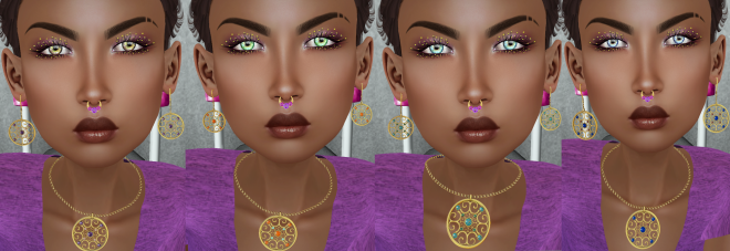 Vengeful Threads Felicity Earring Gold and Mesange Eyes Theral colors