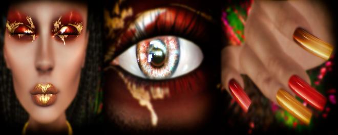 Cosmetic Fair June - Alaskametro makeup, Mesange eyes and Dark Passions nails closer look!
