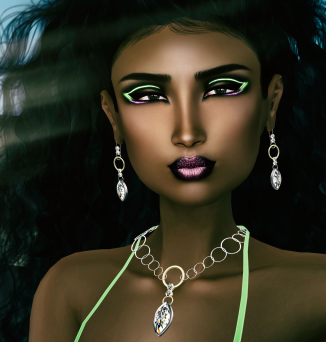 White Queen Neon Explosion makeup + J&W Jewelers Akroma Collection 2 Diamond and Avada Hairbase at Designer Showcase